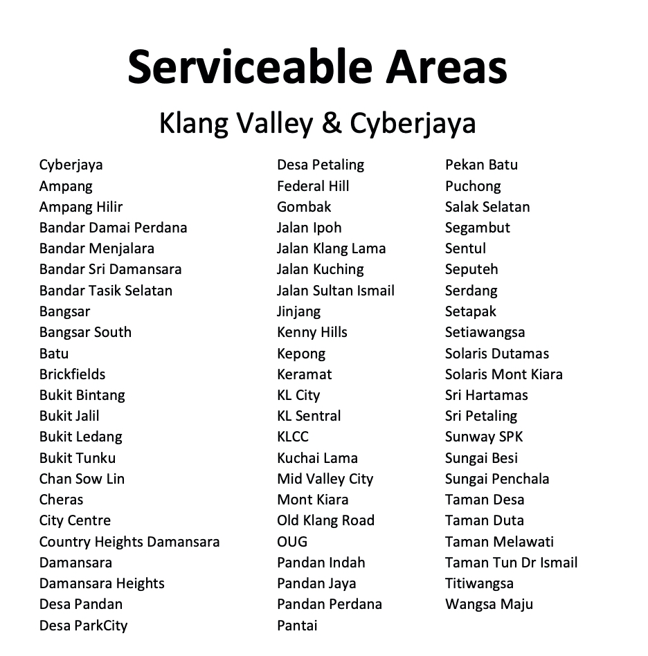 A table of service area of ROGER app